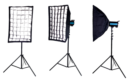stripbox: Photographic studio equipment - a softbox mounted on a studio flash. Isolated on white background. high resolution
