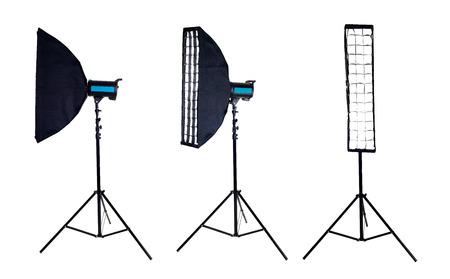 stripbox: Photographic studio equipment.  Photo softbox on studio flash Isolated on white background. high resolution Stock Photo