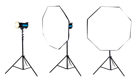 Photo softbox octabox on studio flash. Isolated on white background. high resolution photo
