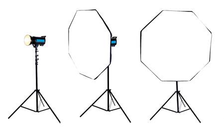 stripbox: Photo softbox octabox on studio flash. Isolated on white background. high resolution Stock Photo