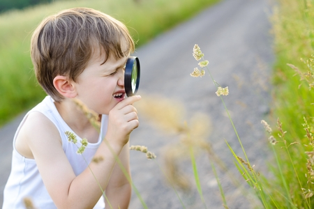 little boy looking at plant through a magnifying glass - summertime photo