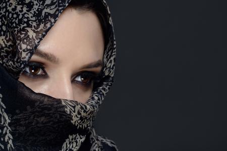 burka: Beautiful Middle eastern woman in niqab