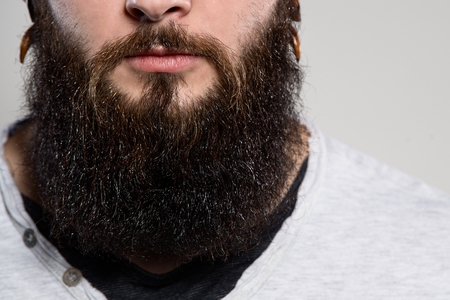 style artistic: Close up of long beard and mustache of bearded man Stock Photo