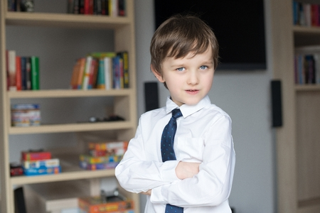 elegantly: Elegantly dressed in a white shirt and tie little boy stands in front of a shelf of books Stock Photo