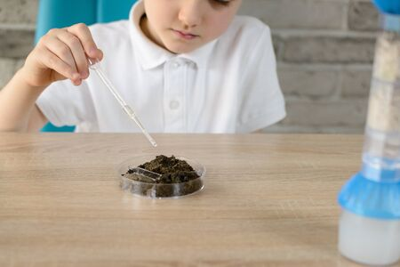 6 years boy with a pipette examines a sample of soil at home