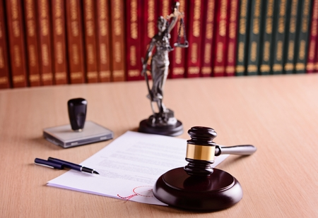judgement: The gavel and judgement in court library. Law concept