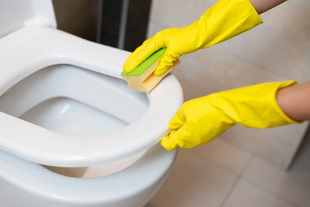 spring cleaning: Hands with yellow rubber gloves cleaning toilet seat in wc with yellow sponge. Spring cleaning