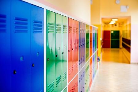 Kleurrijke metalen kasten geïnstalleerd in de hal van de school.