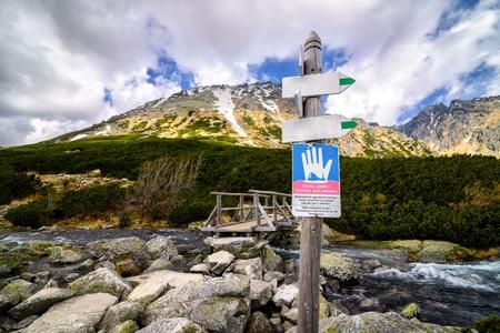 avalanche: Avalanche warning sign in Polish Tatra Mountains. Tatra National Park