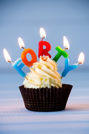 Birthdays cake - cupcake with a candles for 40 - fortieth birthday . Happy birthday !