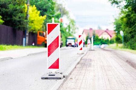 renewal: Summer road work. Road renewal. Traffic Jam