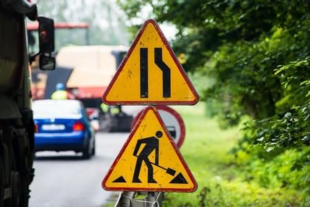 Summer road work. Road renewal. Traffic Jam