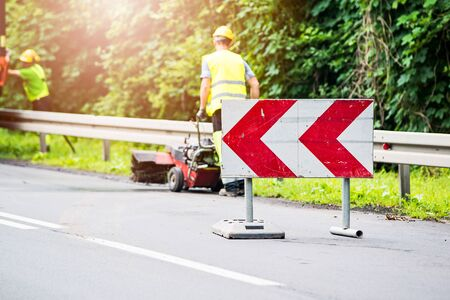 road works: Road works. Road signs informing about detour