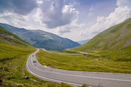 turns: Turns on the Transfagarasan Road - mountains in Romania Stock Photo