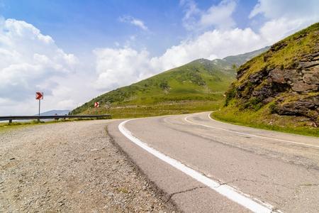 transfagarasan: Turns on the Transfagarasan Road - mountains in Romania Stock Photo