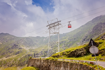 balea: Cable car to Balea Lake over Transfagarasan Road - mountain road in Romanian Carpathian