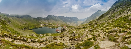 balea: Panoramic view on Balea Lake and Transfagarasan Road at summer