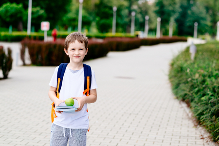 Little 7 years old boy with books and apple at road to school. Dressed in white t shirt and shorts Stock Photo