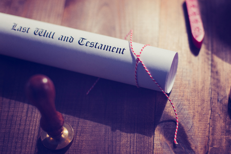 wax stamp: Notary public wax stamp and testament and last will Stock Photo