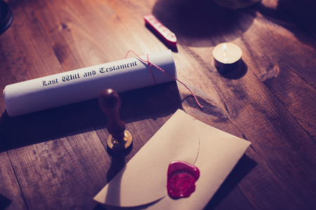 testament: Notary public wax stamp and testament and last will Stock Photo