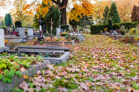 all saints day: Old cemetery at autumn. November 1, All Saints Day Stock Photo