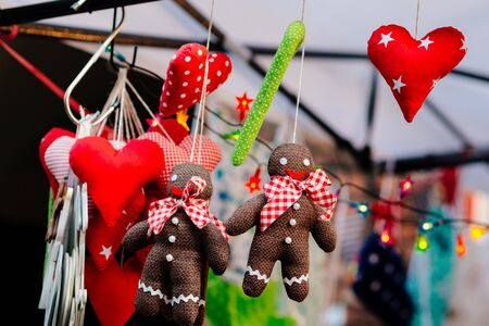Christmas decorations sold at xmas market. December Poland