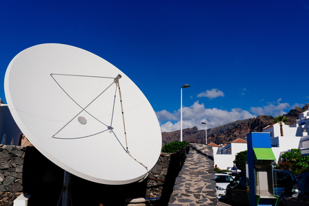 antena parabolica: Big hotel satellite dish in Spanish mountains