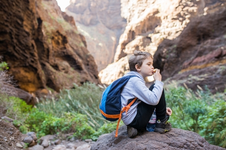 Little boy child eating sandwich while resting on mountain trail. Mountain adventure. Masca Valley, Tenerife island, Canary Islands, Spain Stock Photo