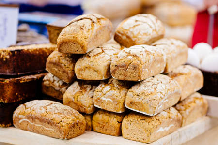 Crunchy loaves of wholemeal bread in a bakery