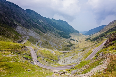 View on the Transfagarasan mountain road in Romania - one of most famous roads in Europe