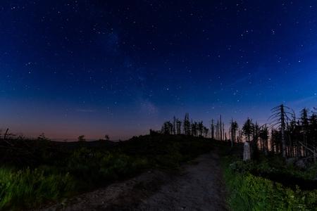 Night starry sky with visible Milky Way galaxy in Polish mountains. Malinowska Skala. Szczyrk. Silesian Beskid, Poland