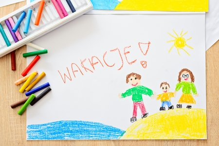 Wakacje - Polish word for summer vacation. Oil pastels drawing of happy family on the beach.