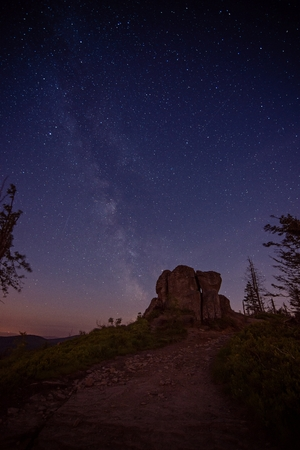 Starry night in mountains. Silesian Beskid, Silesia, Poland