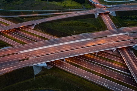 Aerial view on evening traffic on motorway junction. Gliwice, Silesia, Poland