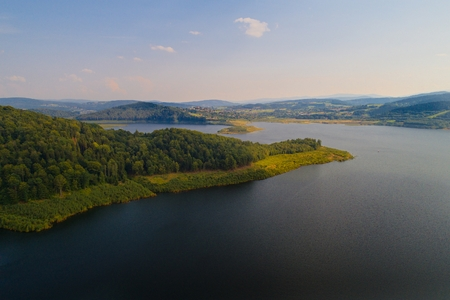 Aerial view of Swinna Poreba water reservoir on Skawa river. Lesser Poland province Stock Photo