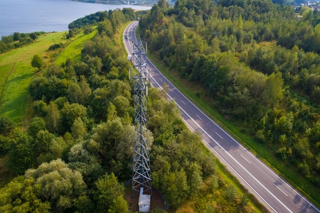 Aerial view of a cellular network relay located in Polish mountains Standard-Bild