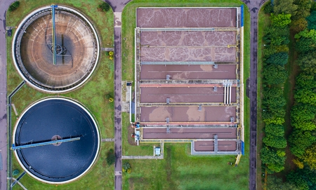 Aerial view of sewage treatment plant. Water recycling Stock Photo