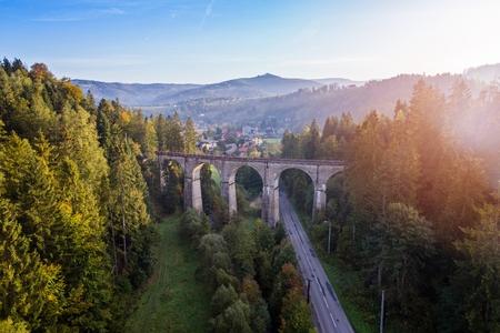 Aerial view of railway viaduct. Wisla, Silesian Beskid, Poland Stock Photo