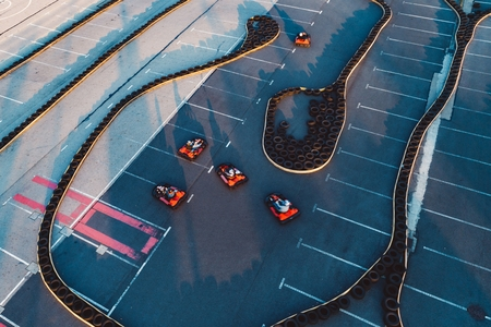 Aerial drone view on racing go-kart track. Motorsport