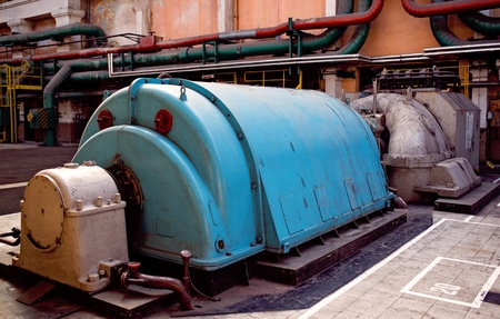 Turbogenerators in old thermal power plant 스톡 콘텐츠