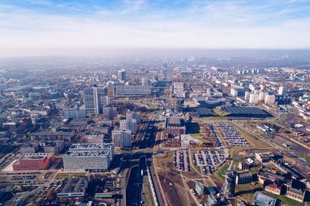 Aerial drone view on Katowice, Silesia, Poland Banco de Imagens