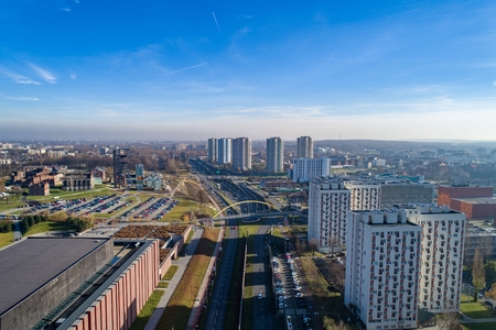 Aerial view on road and residential buildings in Katowice, Silesia, Poland