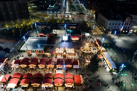 Aerial drone view on traditional Christmas market at Katowice main square