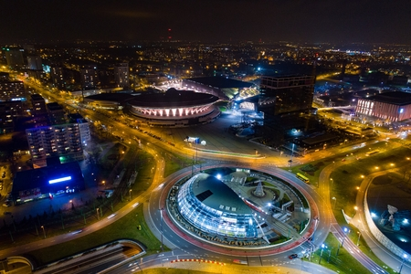 Aerial drone view of roundabout in Katowice at night. Silesia, Poland Reklamní fotografie