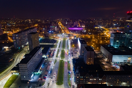 Aerial drone view of Katowice at night. Silesia, Poland