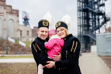Black coal foreman miners family. Polish miner. Katowice, Silesia, Poland