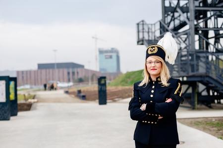 Working woman miner in gala parade uniform. Polish miner, Katowice, Silesia, Poland