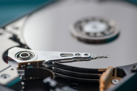 Close up on opened hard disk drive. Data recovery concept Stock Photo