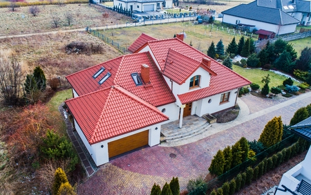 Aerial drone view on single family house in Poland Stock Photo