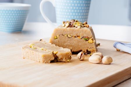 Delicious homemade sesame honey pistachio halva Stock Photo